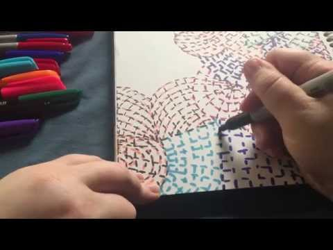 ASMR. Sketching, drawing geometric design with sharpie markers