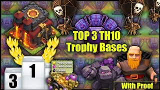 TOP 3 BEST UNBEATABLE TH10 [Town Hall 10] Trophy Bases! W/ Replays | BEST TH10 BASE - Clash Of Clans