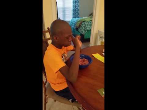 My son Josh feeding himself on his own
