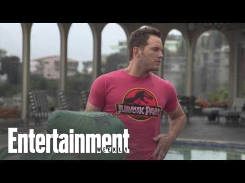 Chris Pratt plays with dinosaur floaties