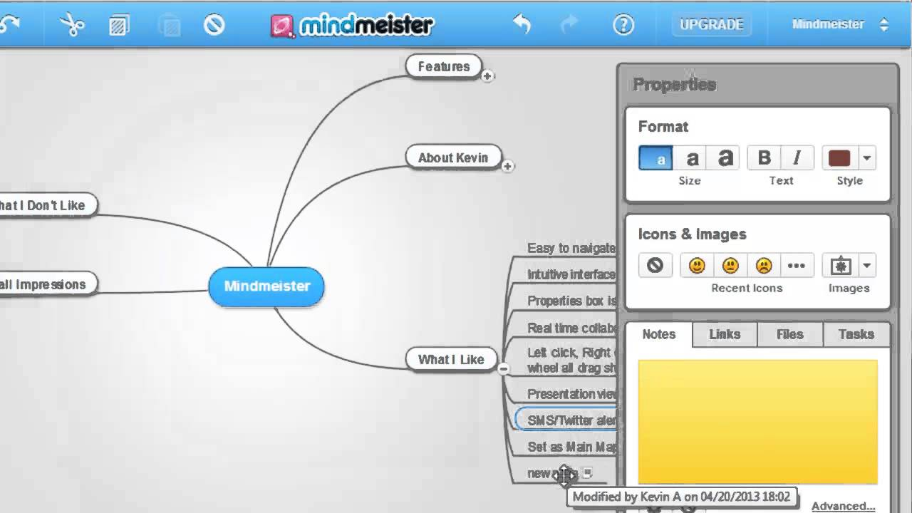 MindMeister Mindmap in der Online Version
