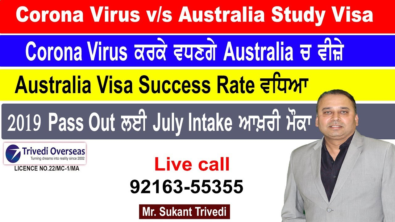 Corona Virus V/s Australia Study Visa 2020 | ਵਧਿਆ Success Rate | Sukant | Trivedi | Oversease