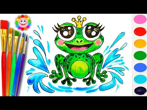 How to Draw a Frog Sea Animals Coloring Page to Learn Colors for Children