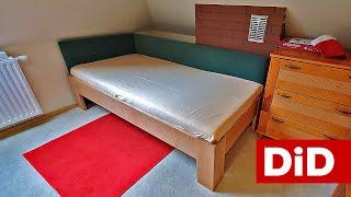 924. Drewniane łóżko bukowe z elementami tapicerowanym