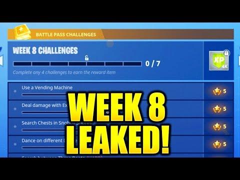 FORTNITE WEEK 8 CHALLENGES LEAKED! WEEK 8 ALL CHALLENGES EASY GUIDE SEASON 4 BATTLE PASS!