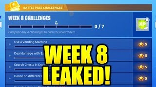 FORTNITE WEEK 8 CHALLENGES LEAKED! WEEK 8 ALL CHALLENGES EASY GUIDE SEASON 4 BATTLE PASS!