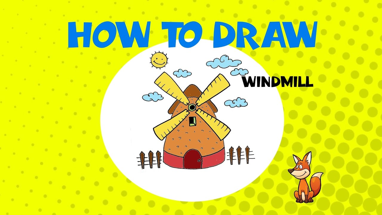 how to draw a windmill step by step drawing tutorial