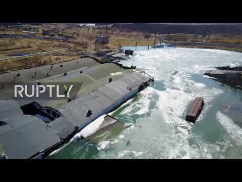 Russia: Drone captures remains of slowly-sinking ghost town