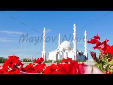Sights of Astana - Hazrat Sultan Mosque, Astana, Kazakhstan. 4K