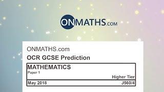 2018 OCR Paper 1 Predicted Higher Maths GCSE Calculator Exam J560/4