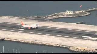 Easyjet flight landing at Gibraltar airport - October 2010