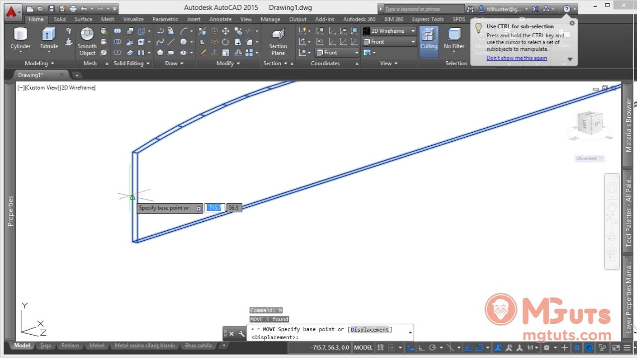 Drawing Organic glass display - Real work example in Autocad