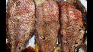 Рыба, запечёная в фольге с лимоном.