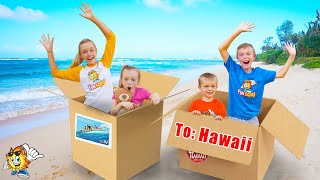 We Pretend To Send Ourselves Overseas To Hawaii Again! (skit) Kids Fun TV Family Vacation