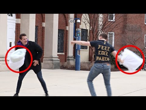 Jo Mercer - Pillow Fights With Strangers Prank - I would Slam!