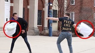Pillow Fights With Strangers Prank!