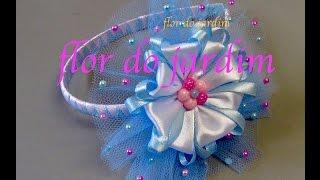 Flor de fita com tule -Tiara with flowe