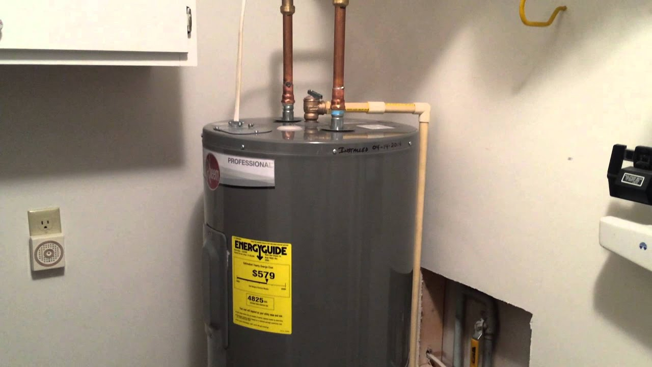 rheem hot water tank installation youtube - Electric Water Heater Installation