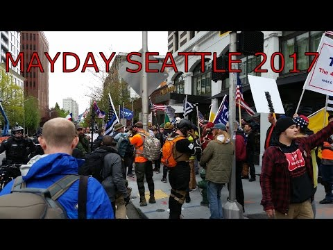 MAYDAY 2017 SEATTLE CLIPS - Trump supporters v Antifa, Immigraton and worker rights march