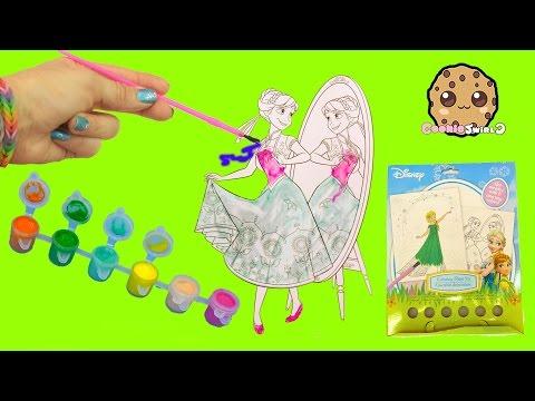 Disney Frozen Fever Coloring Paint Set - Painting Princess Anna Craft Fun Video Cookieswirlc