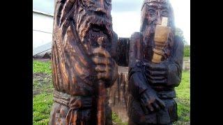 Подсвечники деревянные.Садовая скульптура. Резьба по дереву.Обзор