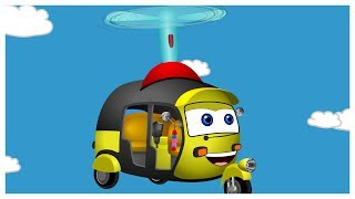 Mega Auto Rickshaw Got Crazy Idea How To Fly With Toy Fans | Finger Family Songs And More