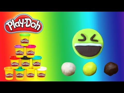 How to Make Play Doh Smiling Face with Open Mouth and Tightly Closed Eyes - Emoji - PlayWithMe#13