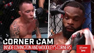 Corner Cam: What Covington and Woodley's coaches said to them in between rounds