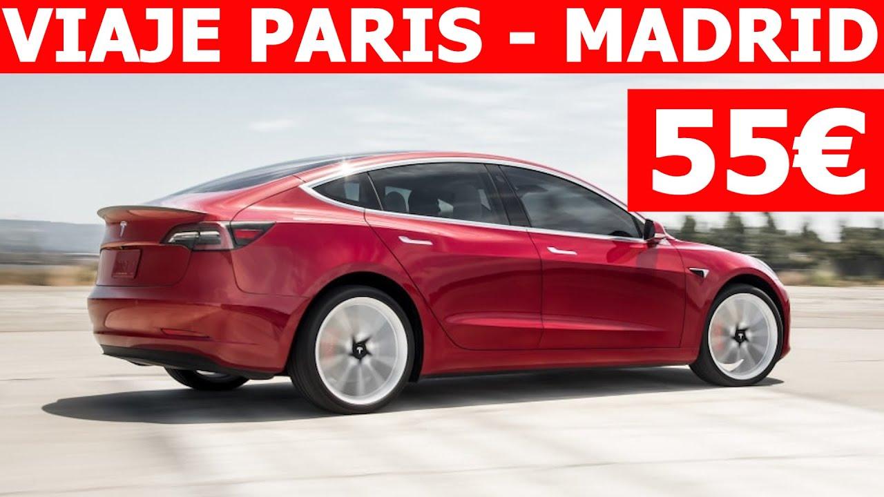 Paris-Madrid por sólo 55€ con un Tesla Model 3