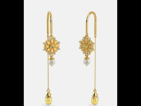 Light Weight Gold Hanging Earrings Designs