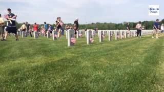 Flags placed at Abraham Lincoln National Cemetery