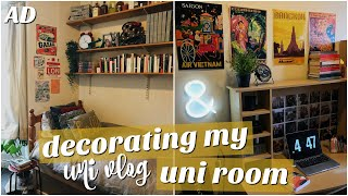 uni vlog: decorating my room - pAtHeTiC tO AeStHeTiC