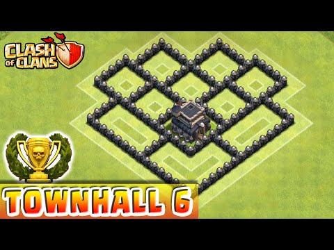 Clash of Clans - DEFENSE STRATEGY - Townhall Level 6 Trophy Base Layout (CoC TH6 Defensive Strategy)