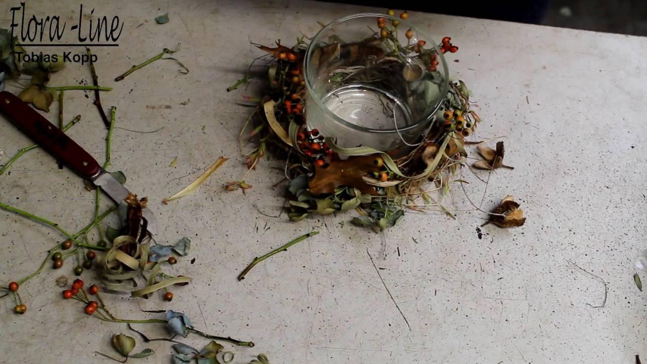 Herbstdeko Selber Machen: Glas Für Teelicht Ausgarnieren