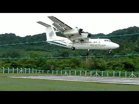 Crosswind landing on Tioman Island, Malaysia