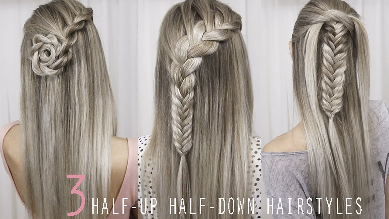 3 Pretty Half Up Half Down Hairstyles Back To School Tutorial