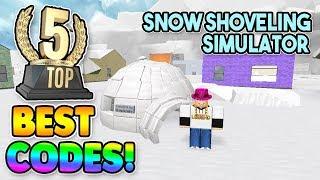 Top 5 BEST CODES *2018* (Snow Shoveling Simulator) ROBLOX