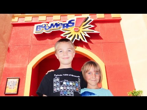 Kids Play at Boomers - Go Karts, Mini Golf, Laser Tag (Vlog 3/29/2017)