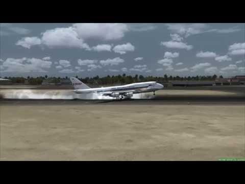 Landing at Dubai THAI AIRWAYS 747-400 [FSX]
