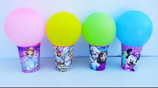 Learn Colors Balloons Toy Surprise Cups Big M's Candy Disney Frozen Peppa Pig Shopkins Kids