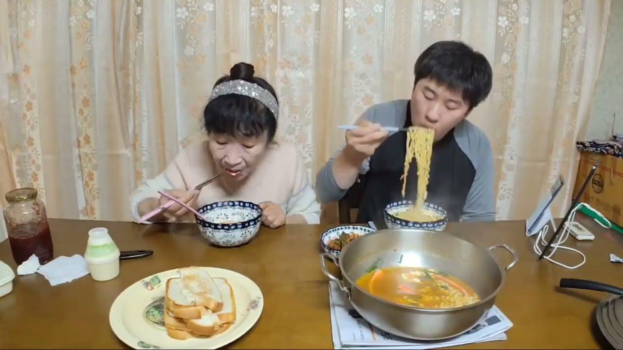 먹방mukbang 라면,직접만든 딸기쨈토스트먹방 Ramyun,strawberry jam (eating show)