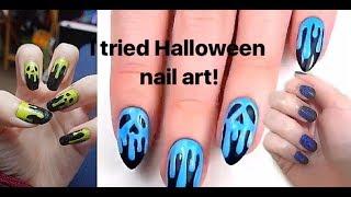 I Tried Doing Halloween Nail Art! (I got nail polish remover in my eye!)