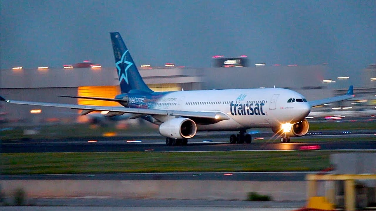 Air Transat A330 200 Dusk Departure From Toronto Pearson Runway 23