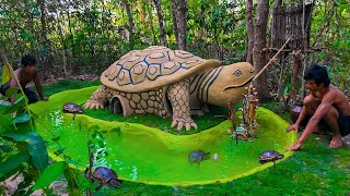 Building The Most Turtle Mud House And Pond For Poor Turtles By Ancient Skill At Deep Jungle