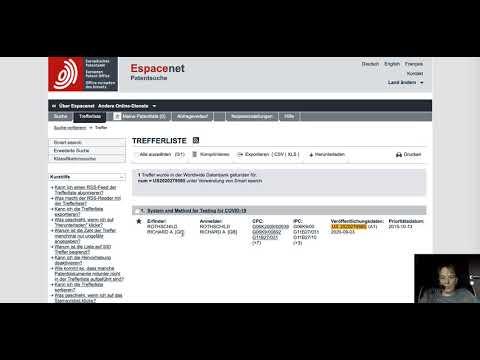 Covid 19 Test wurde 2015 zum Patent angemeldet
