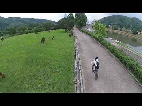 DJI Phantom cycling at Lo Wu to Lok Ma Chau Hong Kong 羅湖得月樓
