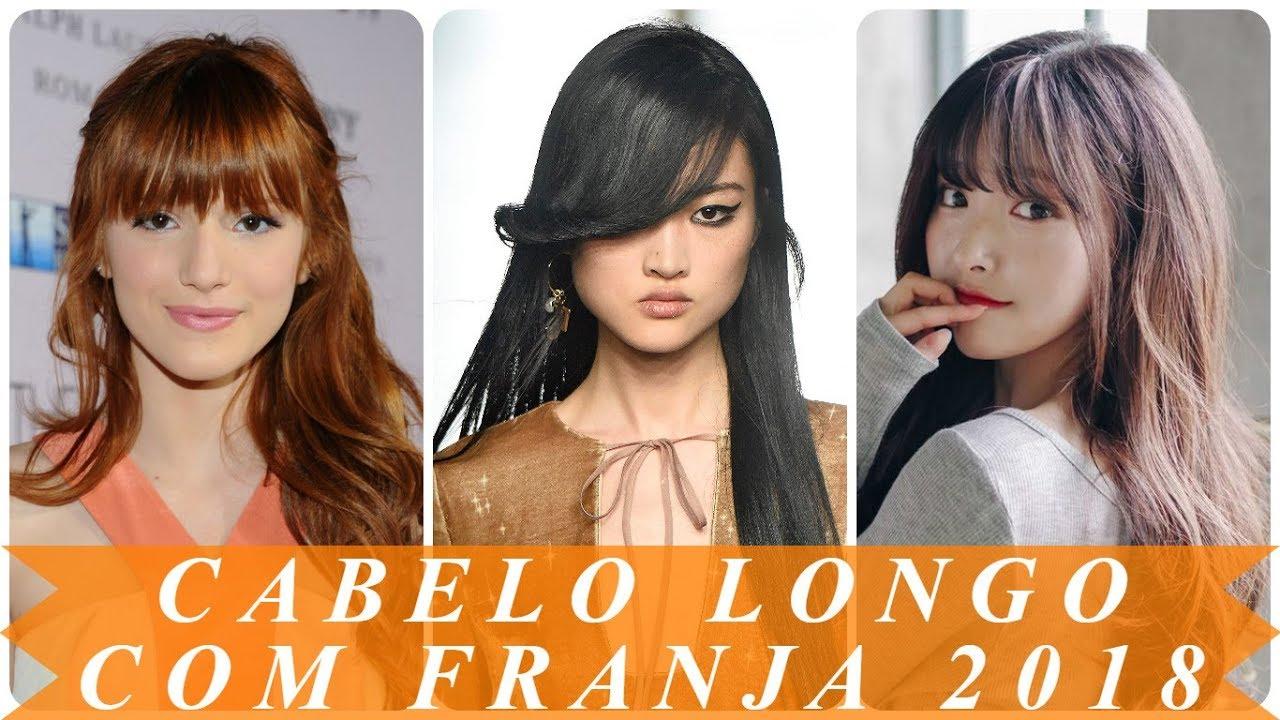 Favoritos Modelo de corte de cabelo longo com franja 2018 feminino - YouTube WT24