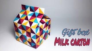 Milk Carton Gift Box Paper Crafts tutorial !