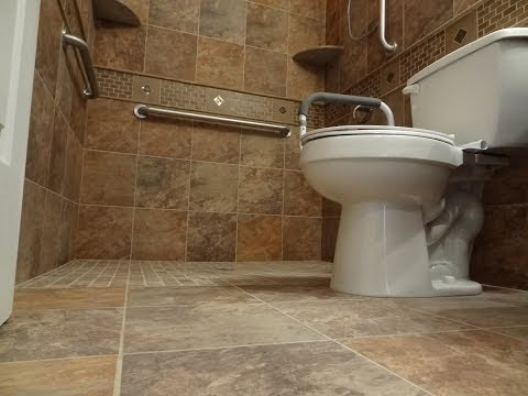 Part (1) How to build and tile curbless ( handycap ) walk -in shower.