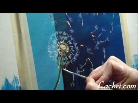 How to paint a simple dandelion with liquitex acrylic paint and an Iwata airbrush by Lachri